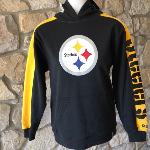 Youth Steelers hoodie with logo on hood. M 5addf9202ae12f2630e5c335 06c722547